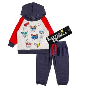 NWT Little Rebels Animals Sweatshirt Pant Set 12mo